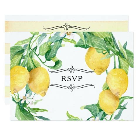 Horizontal Striped Lemon Floral Citrus Leaf RSVP