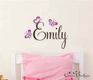 personalized name with butterflies custom vinyl wall With name wall decals