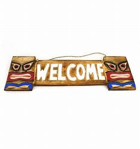 Plaques De Portes : plaque de porte en bois welcome style tiki int rieur ou ~ Melissatoandfro.com Idées de Décoration