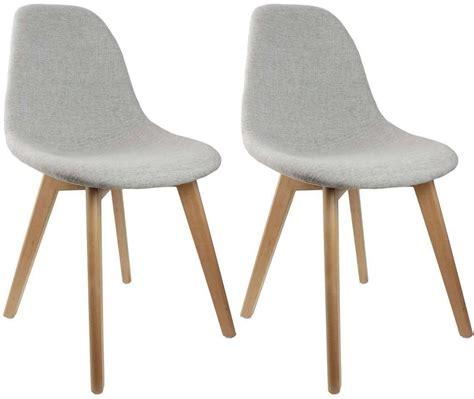 pied de chaise scandinave chaise scandinave en tissu et pieds en bois lot de 2 gris