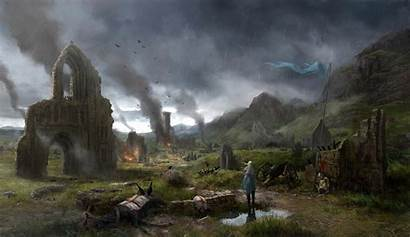 Ages Middle Ruins Village Wallpapers Battle Fire