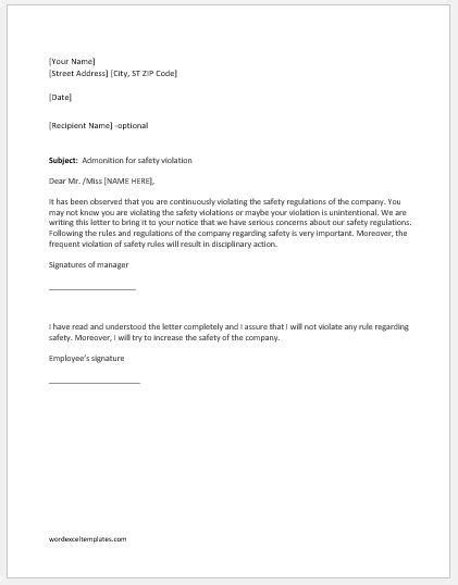 Warning Letter for Safety Violation | Word & Excel Templates