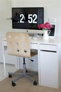 ikea micke computer desk white with jules swivel chair