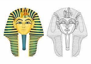 Egyptian clipart death mask pencil and in color egyptian for King tut mask template