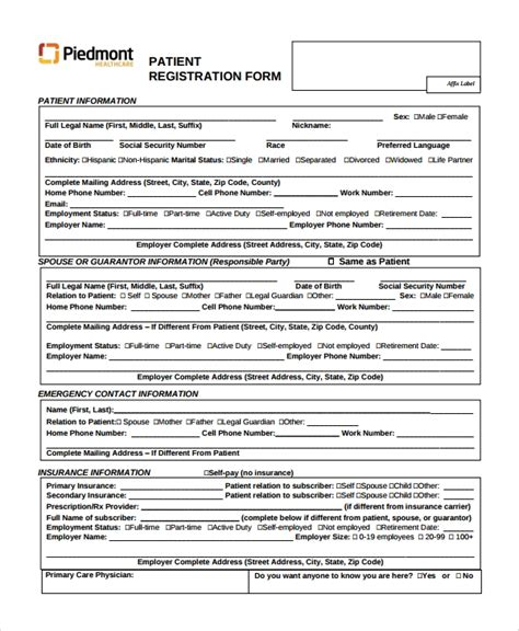sample patient registration form   documents