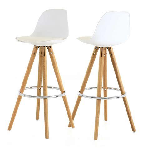 siege cuisine chaise haute de bar blanche trépied en bois style