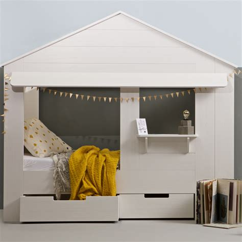 Kids House Cabin Bed In White Pine With Storage Drawers   Cabin Beds