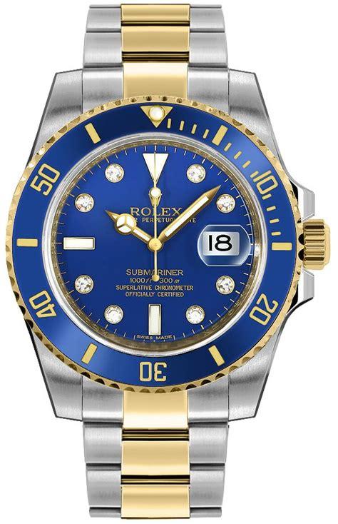 116613 Rolex Submariner Blue Diamond Dial Mens Automatic Watch