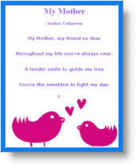 mothers day poems printable   mothers day cards