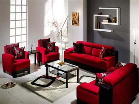 stylish cozy red sofa living room decorating ideas home