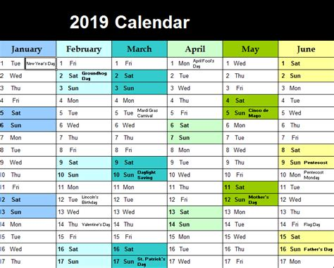 yearly color calendar  excel templates