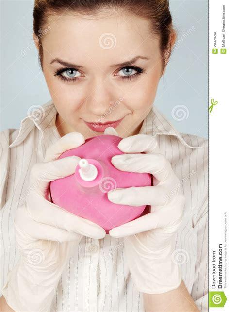 girl holds the enema stock image image 20329281