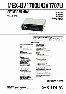 Sony Mex-dv1700u  Mex-dv1707u Service Manual