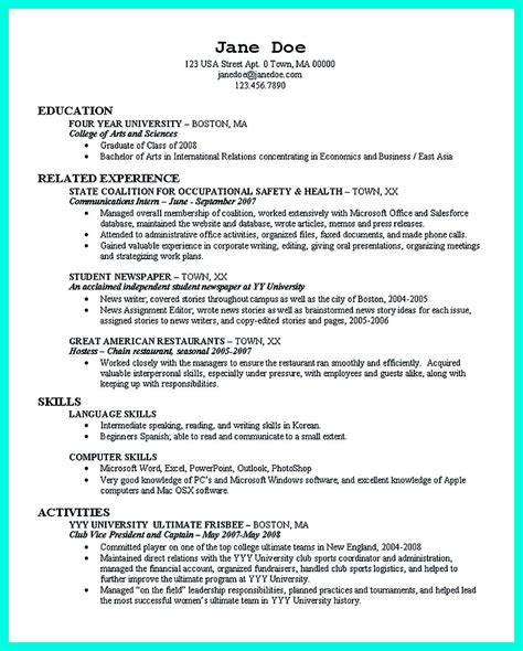 perfect college resume template    job