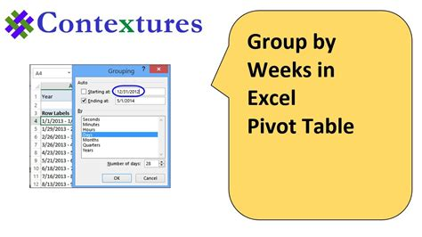excel pivot table weeks