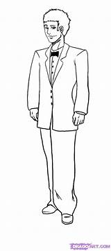 Groom Drawing Draw Tuxedo Step Outline Pages Colouring Drawings Steps Guys sketch template