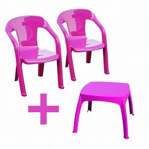 Salon De Jardin Pour Enfant : salon de jardin enfants baghera table rose 2 chaises couleur rose plastique oogarden ~ Teatrodelosmanantiales.com Idées de Décoration