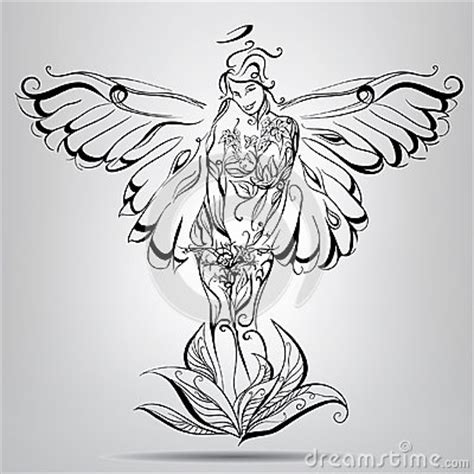 girl angel  wings   butterfly vector illustration stock photo image