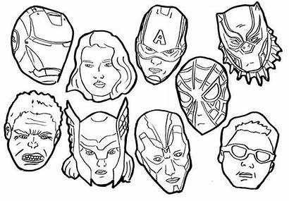 Coloring Avenger Cartoon Avengers Endgame Pages Mask