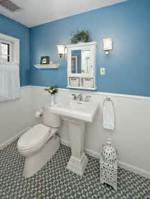 Light Blue and White Bathrooms with Tile