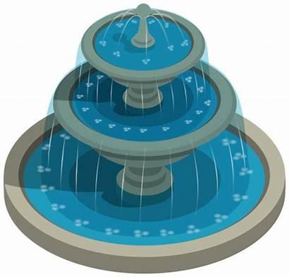 Fountain Water Clipart Round Garden Clip Transparent
