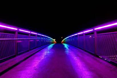 Lights Neon Purple Bridge Railings 4k Wallpapers