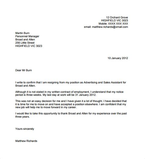 Free Resignation Letter Sample With No Notice In Pdf Or