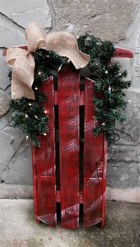 decorating  wooden christmas sleds