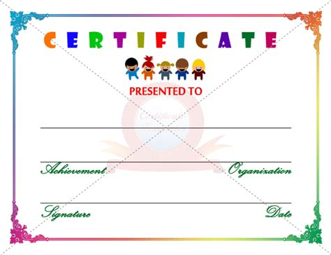 coloring pages kids certificate template