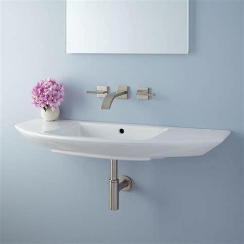 narrow small wall mount bathroom sink installation