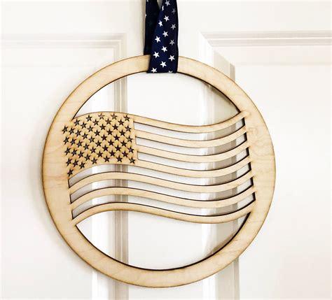 american flag circle door sign   usa front door