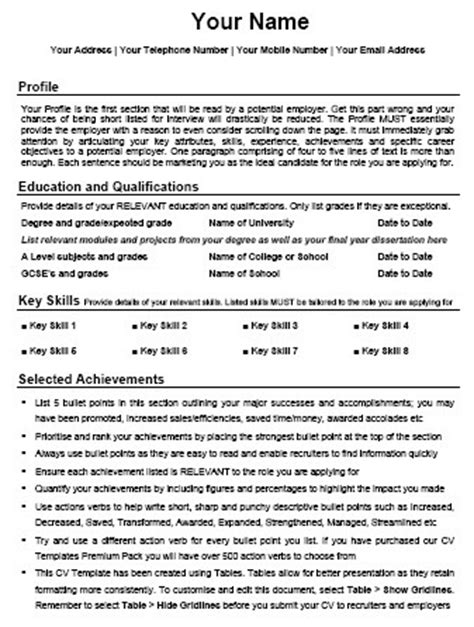 Resume Starter Template by Cv Templates Learn How To Write A Powerful Cv