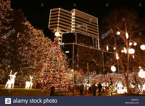 christmas lights in downtown richmond virginia stock