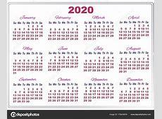 calendário de 2020 com números grandes — Vetores de Stock