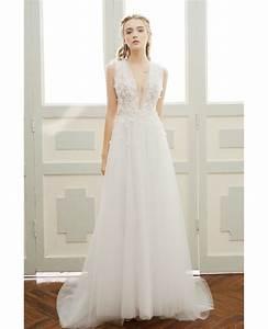 a line simple boho wedding dress deep v neck sweep train With v neck a line wedding dress