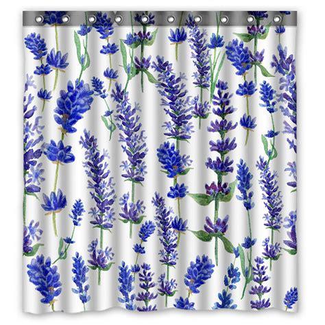 Phfzk Purple Flower Floral Shower Curtain Watercolor