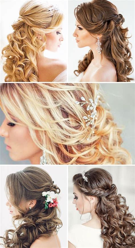 half up half down wedding hairstyles these elegant curly