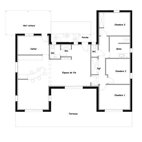 plan maison plain pied 100m2 3 chambres plan maison 100m2 3 chambres plan maison rectangle