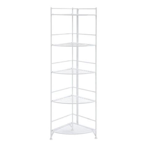 White Metal Etagere by New White Metal Corner Etagere 5 Shelf Folding Stand Home