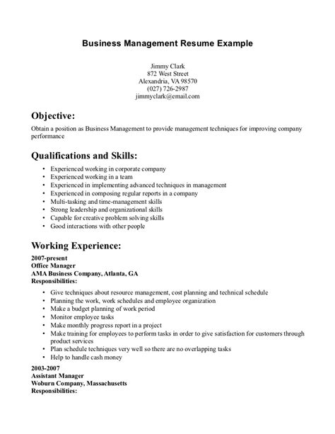 Business Manager Resume by Business Management Resume Sles Printable Planner