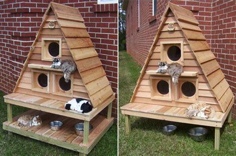 Outdoor Cat Cottage Triplex  Home Design, Garden