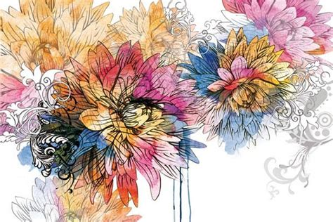 stickers pour cuisine tableau déco fleur aquarelle izoa