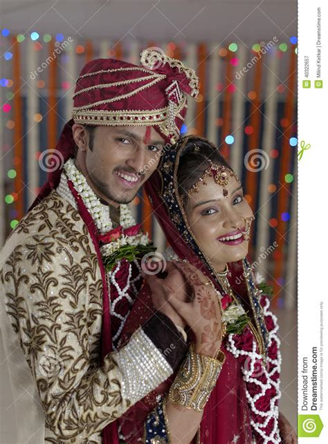 indian hindu bride groom  happy smiling couple stock