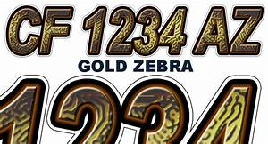 gold zebra custom boat registration numbers decals vinyl With gold vinyl letters