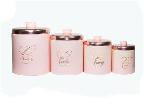 pink kitchen canisters vintage pink kitchen metal canister set shabby chic
