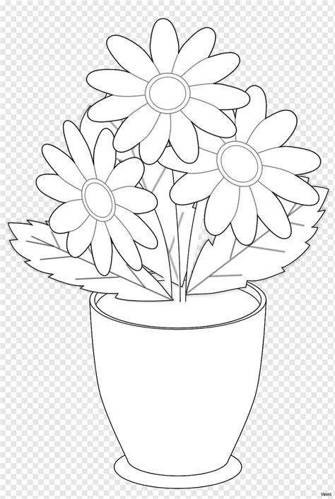 45 sketsa gambar vas bunga hitam putih