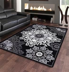 Tapis Blanc Et Gris : fabulous stunning tapis salon noir et blanc charmant tapis ~ Melissatoandfro.com Idées de Décoration