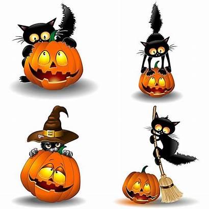 Halloween Happy Clipart Cat Pumpkin Smiling Hat