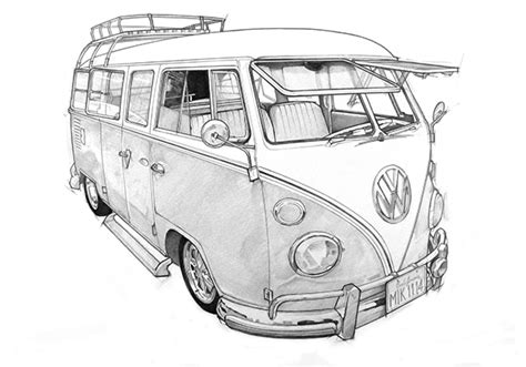 volkswagen old van drawing vw cer van sketch inspiration pinterest vw cer