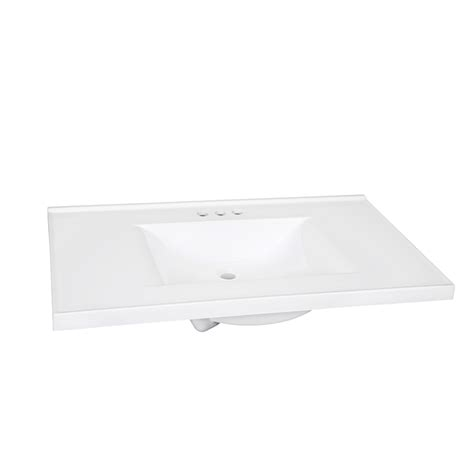 37 vanity top with integrated sink shop style selections solid white cultured marble integral